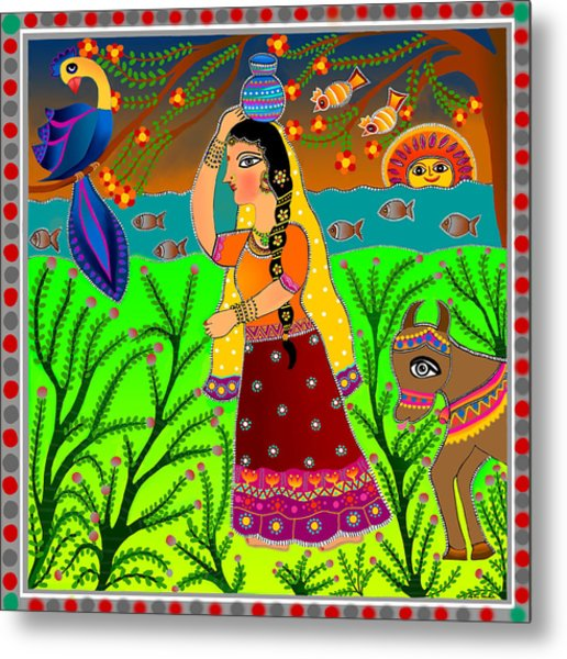 The Lonely Radha-madhubani Style-digital Metal Print