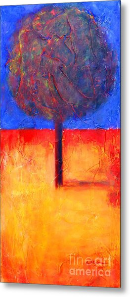 Metal Print featuring the painting The Lonely Tree In Autumn by Cristina Stefan