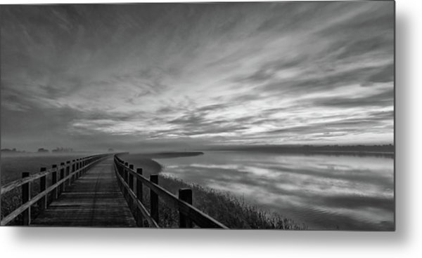 The Long Wooden Footbridge. Dark Version. Metal Print