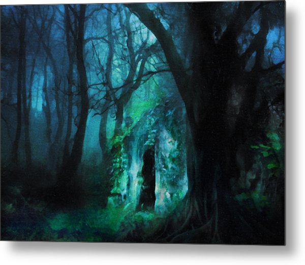 The Lovers Cottage By Night Metal Print