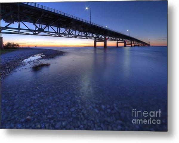 The Mackinac Bridge At Dusk Metal Print by Twenty Two North Photography