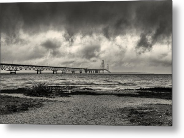 The Mackinac Bridge B W Metal Print