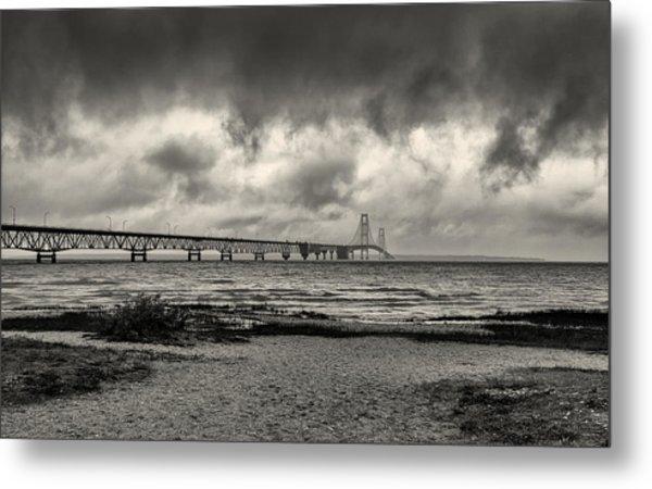 The Mackinac Bridge B W Metal Print