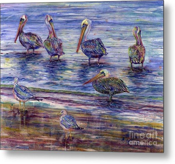 The Majestic Pelican Visit Metal Print