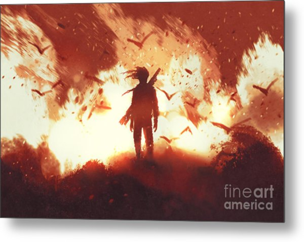 The Man With A Gun Standing Against Metal Print by Tithi Luadthong