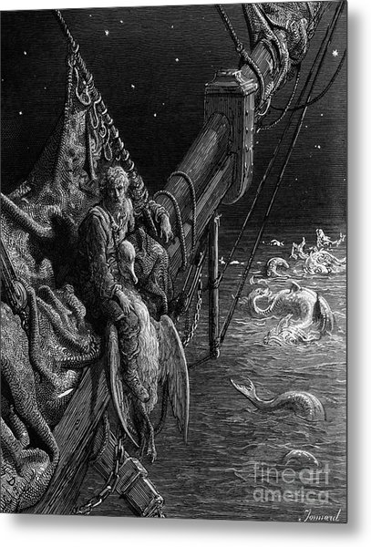 The Mariner Gazes On The Serpents In The Ocean Metal Print