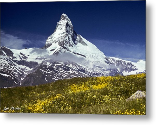 The Matterhorn With Alpine Meadow In Foreground Metal Print