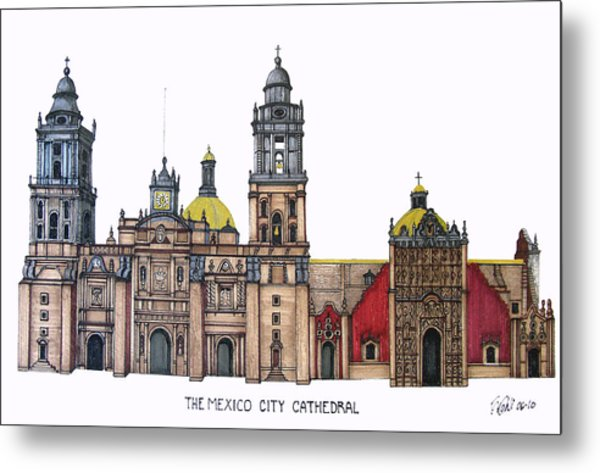 The Mexico City Cathedral Metal Print by Frederic Kohli