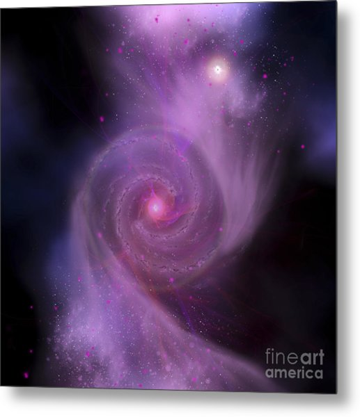 The Milky Way Galaxy And Andromeda Metal Print