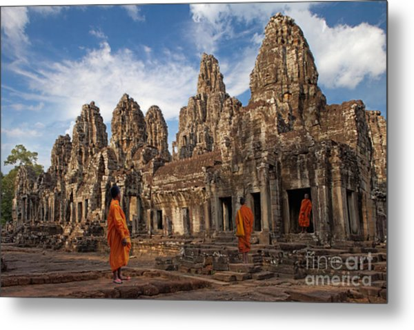 The Monks Of Bayon Metal Print by Pete Reynolds
