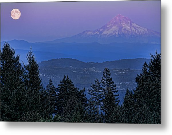 The Moon Beside Mt. Hood Metal Print