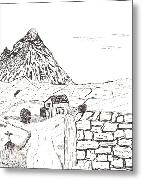 The Mountain Beyond The Fields Metal Print