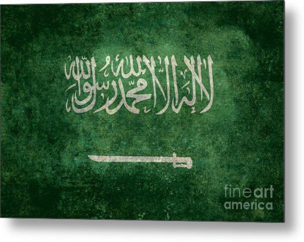 The National Flag Of  Kingdom Of Saudi Arabia  Vintage Version Metal Print
