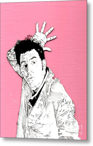 The Neighbor On Pink Metal Print