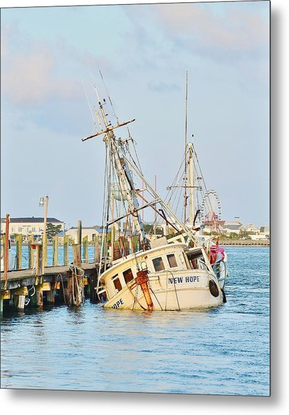 The New Hope Sunken Ship - Ocean City Maryland Metal Print