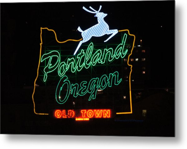 The New Portland Oregon Sign At Night Metal Print by DerekTXFactor Creative