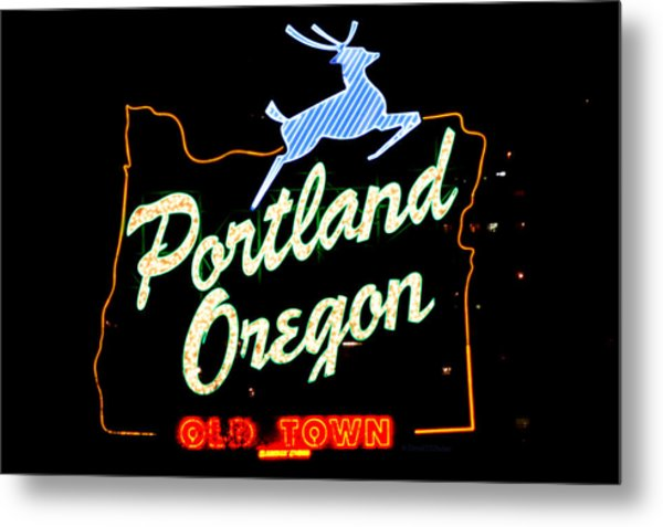 The New Portland Oregon Sign At Night With White Lights Metal Print by DerekTXFactor Creative