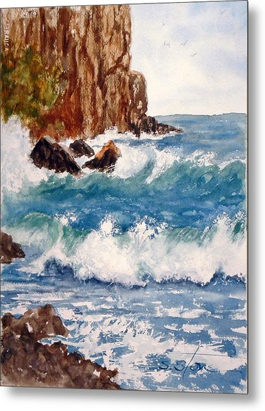 The Ocean Cliffs Metal Print by Sandra Stone