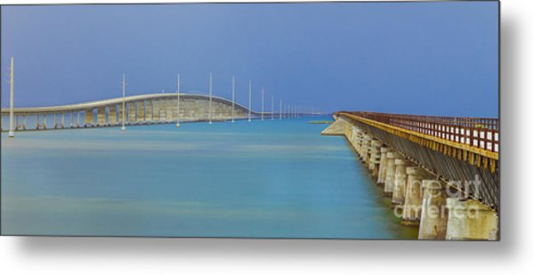 The Old- And New 7 Mile Bridge Metal Print