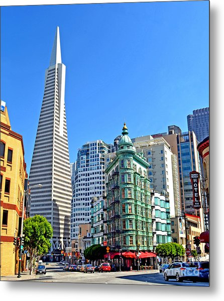 The Old And The New The Columbus Tower And The Transamerica Pyramid II Metal Print by Jim Fitzpatrick
