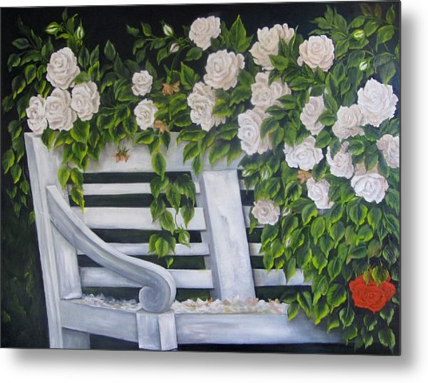 The Old Bench Metal Print