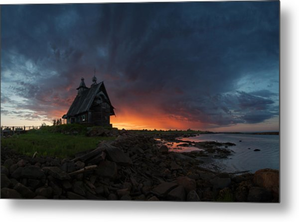 The Old Church On The Coast Of White Sea Metal Print