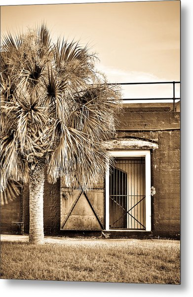 The Old Fort-sepia Metal Print