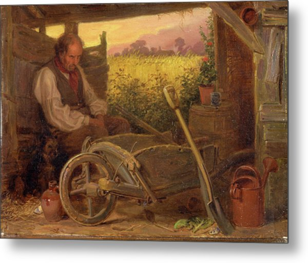 The Old Gardener Signed And Dated, Lower Right Br 1863 Metal Print