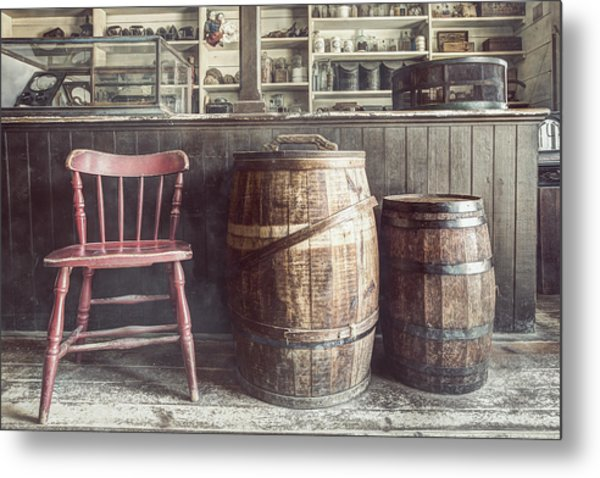 The Old General Store - Red Chair And Barrels In This 19th Century Store Metal Print