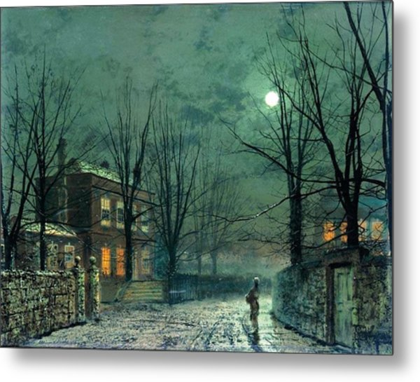 The Old Hall Under Moonlight Metal Print