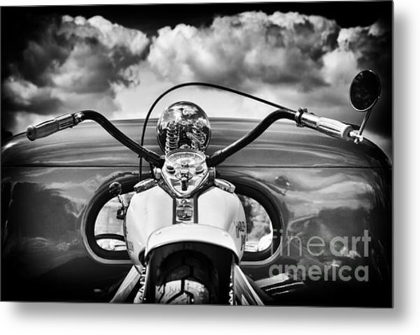 The Old Harley Monochrome Metal Print