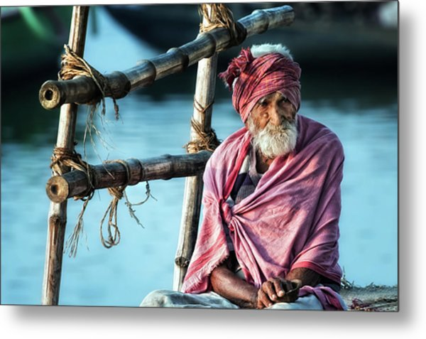 The Old Man And The Ganges Metal Print