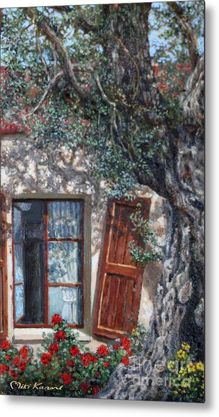 The Old Olive Tree And The Old House Metal Print by Miki Karni