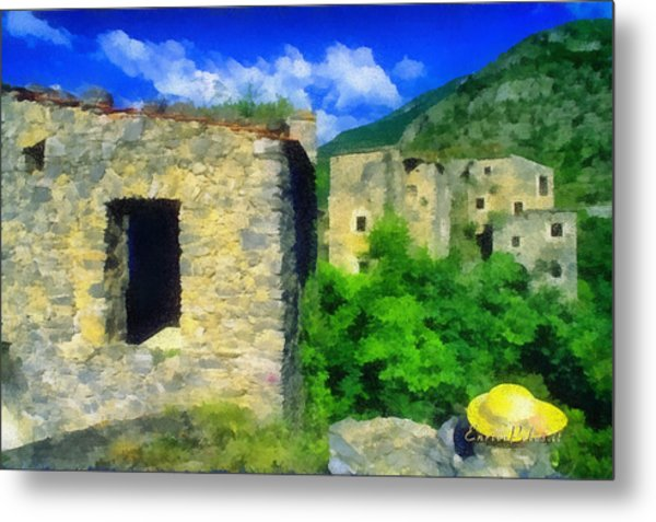 The Old Village And The Yellow Hat Metal Print