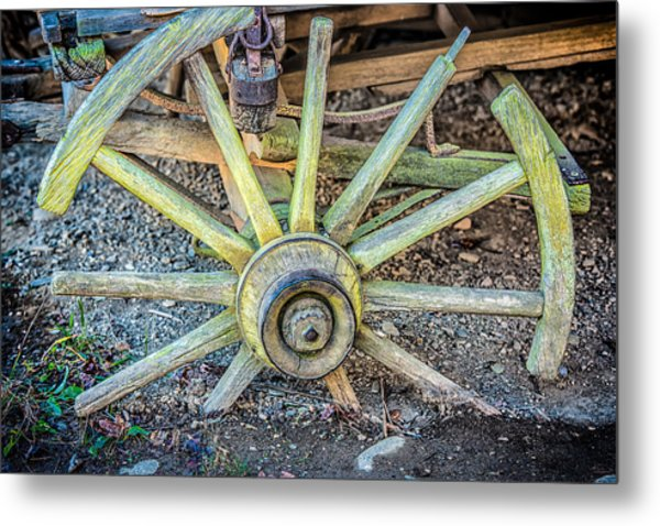 The Old Wagon Wheel Metal Print