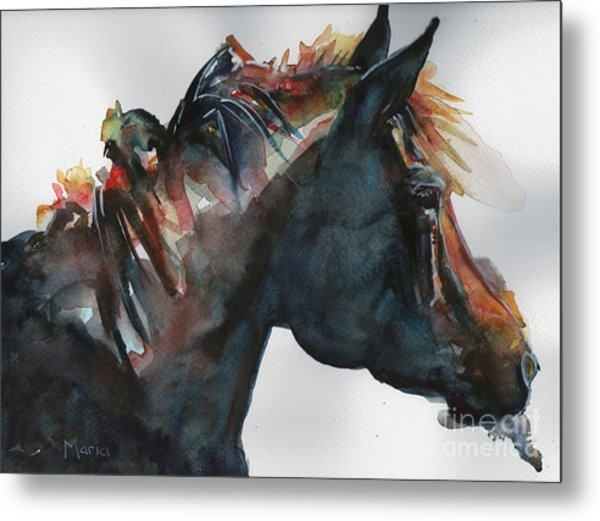 Black Horse Painting In Watercolor The Open Door Metal Print