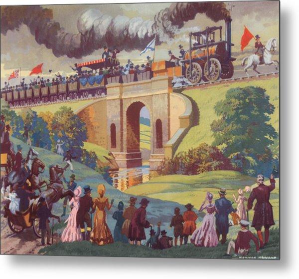 The Opening Of The Stockton And Darlington Railway Macmillan Poster Metal Print