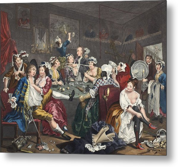 The Orgy, Plate IIi From A Rakes Metal Print