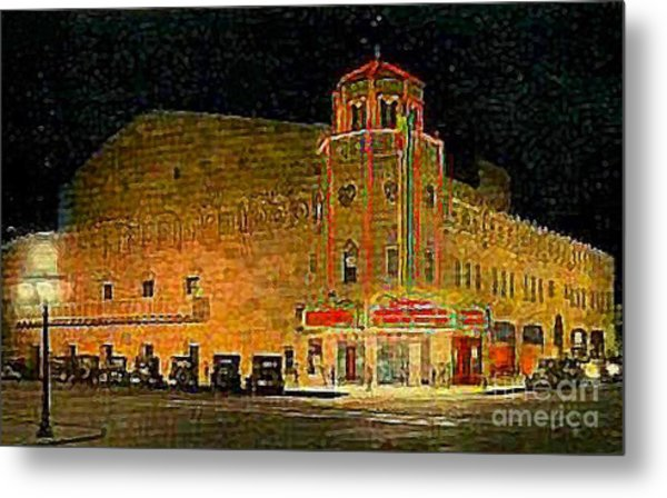 The Orpheum Theatre At Night In Phoenix Az In 1932 Metal Print by Dwight Goss