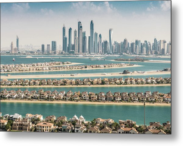 The Palm Jumeirah In Dubai With Skyline Metal Print by Franckreporter