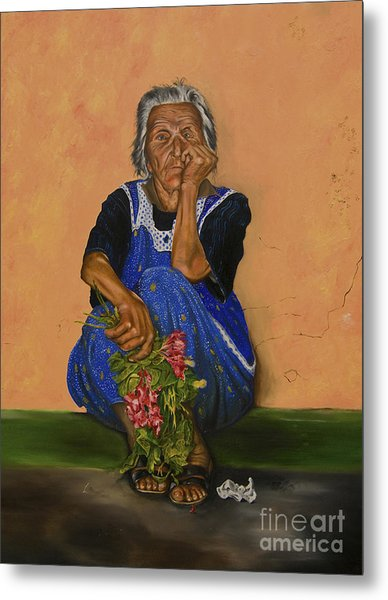 The Parga Flower Seller Metal Print