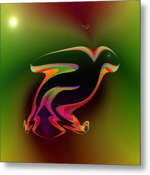 Metal Print featuring the digital art The Parrot And The Butterfly by Visual Artist Frank Bonilla