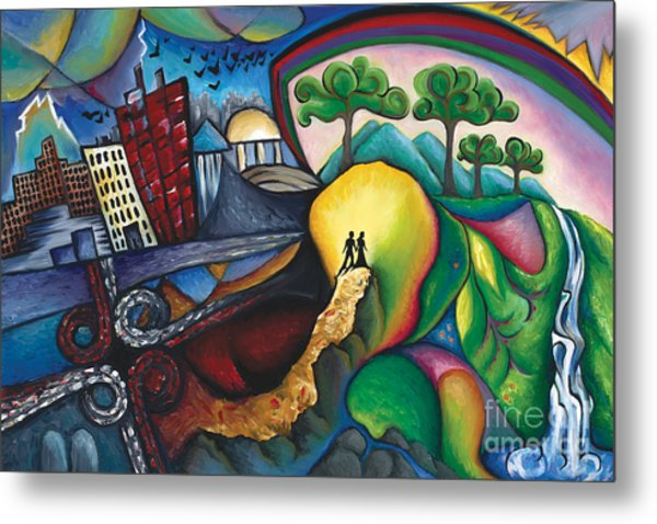 The Path Between City And Country Metal Print