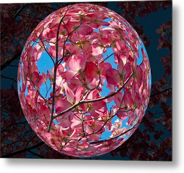 The Peach Tree Sphere Metal Print