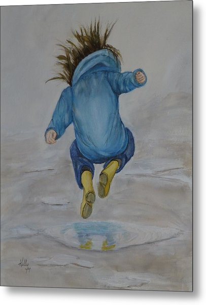 The Perfect Puddle... Jump Metal Print