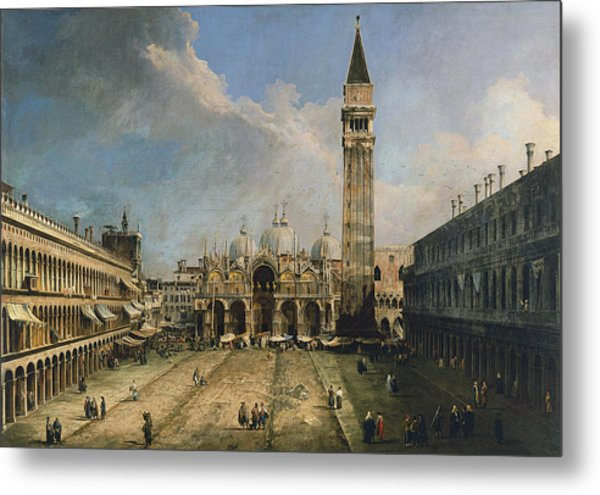 The Piazza San Marco In Venice Metal Print by Canaletto