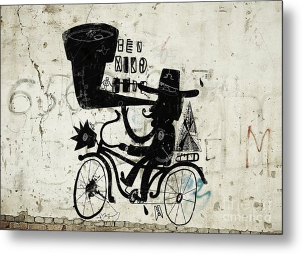 The Picture Shows A Man Who Rides A Metal Print by Dmitriip
