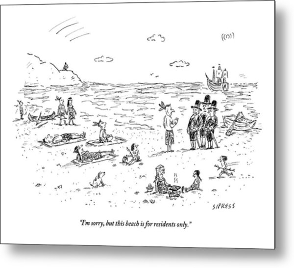 The Pilgrims Arrive At A Native American Beach Metal Print