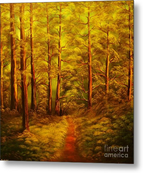 The Pine Tree Forest-original Sold-buy Giclee Print Nr 34 Of Limited Edition Of 40 Prints  Metal Print by Eddie Michael Beck