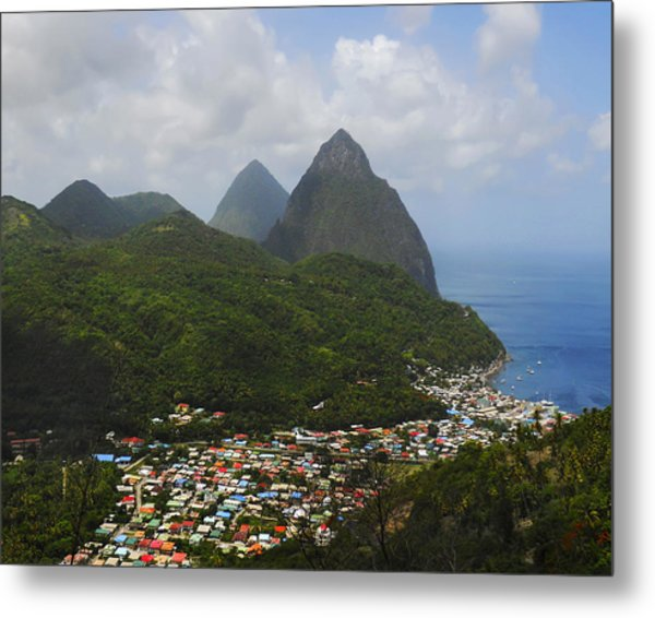 Metal Print featuring the photograph The Pitons And Soufriere by Joe Winkler